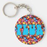 Aqua PLUR Candy Basic Round Button Keychain