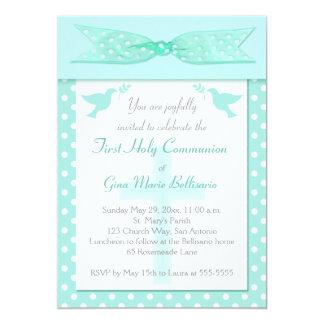 Aqua Polka Dot First Holy Communion Invitation