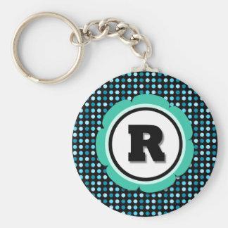 Aqua Polka Dot Monogram R Basic Round Button Keychain