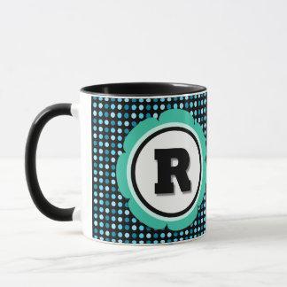 Aqua Polka Dot Monogram R Mug