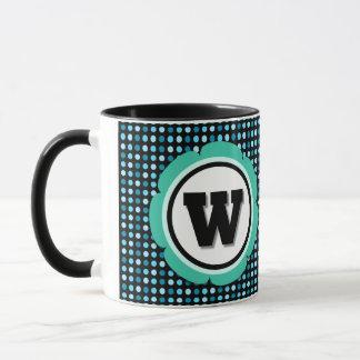 Aqua Polka Dot Monogram W Mug