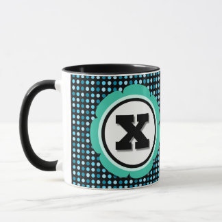 Aqua Polka Dot Monogram X Mug