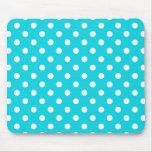 Aqua Polka Dot Pattern Mouse Pad