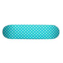 Aqua Polka Dot Pattern Skateboard Deck