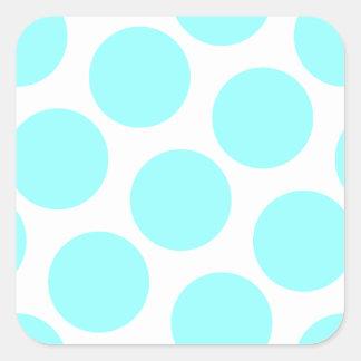Aqua Polka Dot Square Sticker
