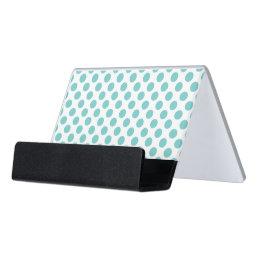 Aqua Polka Dots Desk Business Card Holder