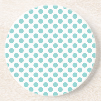 Aqua Polka Dots Drink Coaster
