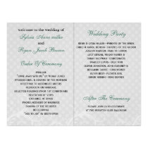 aqua polka dots floral book fold Wedding program