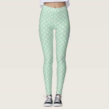 Halloween Themed Aqua Polka Dots Pattern Leggings