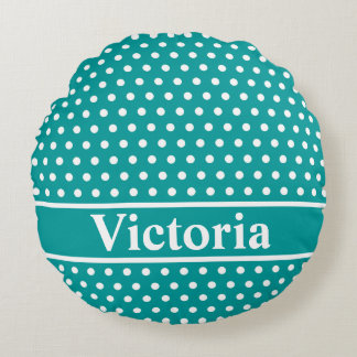Aqua Polka Dots Round Pillow