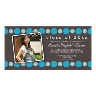 Aqua Polkadots Custom Graduation Announcement Photo Card