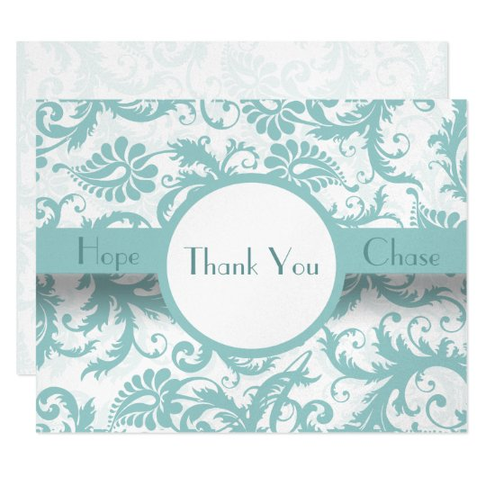 Aqua Pool Blue Damask Swirls Wedding Invitation