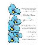 "Aqua Poppy Flowers Wedding Invitation 5"" X 7"" Invitation Card"