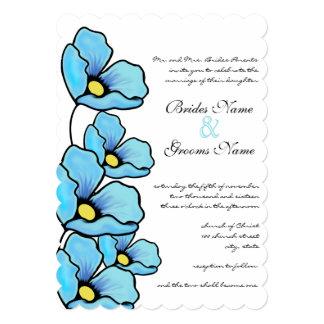 Aqua Poppy Flowers Wedding Invitation