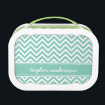 """Aqua Preppy Chevron Monogram Lunch Box<br><div class=""""desc"""">Personalized monogram lunchbox,  perfect for packing your kids&#39; school lunches! Design features a cute girly modern preppy zigzag chevron stripe pattern with your custom name monogram in a colored ribbon. Click Customize It to change monogram font and colors and create your own unique one of a kind design.</div>"""