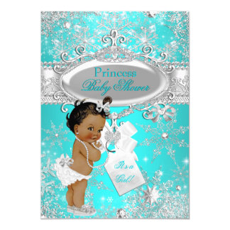 Aqua Princess Winter Wonderland Baby Shower Ethnic Card