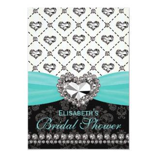 Aqua PRINTED Diamond Bridal Shower Invitation