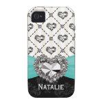 Aqua PRINTED Rhinestone Heart Case-Mate iPhone 4 Covers