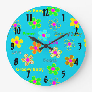 Aqua Psychedelic 60s Groovy Flowers Pattern Large Clock