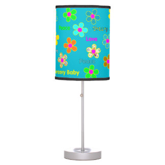 Aqua Psychedelic 60s Groovy Flowers Pattern Table Lamp