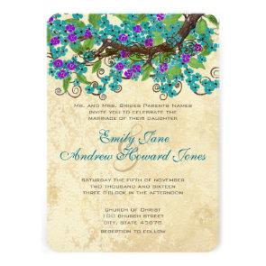 Aqua & Purple Cherry Blossom Tea Stain Invitations
