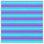 [ Thumbnail: Aqua & Purple Colored Lines Pattern Fabric ]