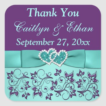 Aqua, Purple Floral, Hearts Wedding Favor Sticker