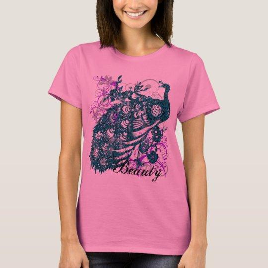Aqua Purple Peacock, Customized Text Design T-Shirt