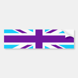 Aqua Purple Union Jack Bumper Sticker