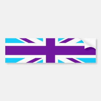 Aqua Purple Union Jack Bumper Sticker