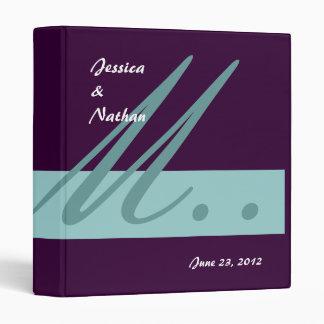 Aqua & Purple Wedding Monogram Planner  Binder