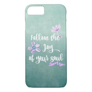 Aqua Purple with Joy Quote iPhone 8/7 Case