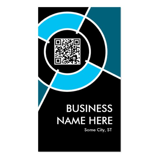 aqua QR code and logo target Business Cards