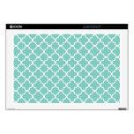"Aqua Quatrefoil Clover Pattern 17"" Laptop Decals"
