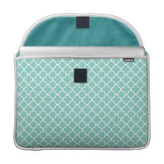 Aqua Quatrefoil Clover Pattern MacBook Pro Sleeves