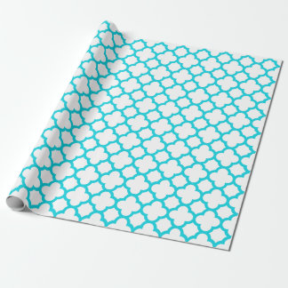Aqua Quatrefoil Gift Wrapping Paper