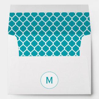 Aqua Quatrefoil Monogram Envelopes