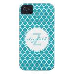 Aqua Quatrefoil Monogram iPhone 4 Covers