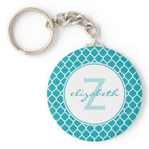 Aqua Quatrefoil Monogram Keychain