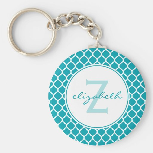 Aqua Quatrefoil Monogram Key Chains