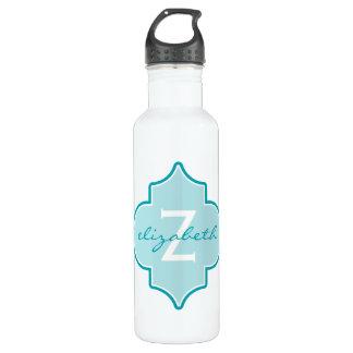 Aqua Quatrefoil Monogram 24oz Water Bottle