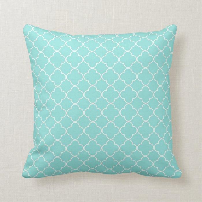 Quatrefoil Decorative Pillow : Aqua Quatrefoil Pattern Decorative Pillow Zazzle