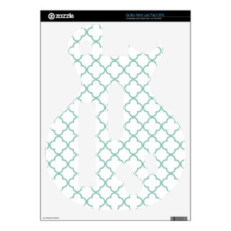 Aqua Quatrefoil Pattern Skin For Guitar Hero