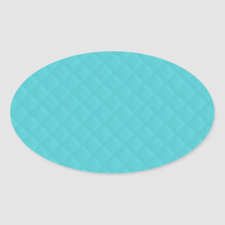 Aqua Quilted Leather Oval Sticker