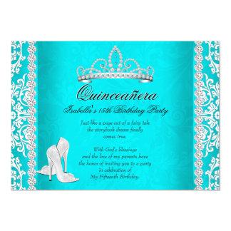 Aqua Quinceanera 15th Birthday Tiara High Heels Card