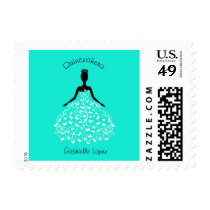 Aqua Quinceanera Butterfly Gown Postage Stamp