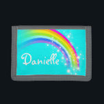 """Aqua rainbow and stars name wallet / purse<br><div class=""""desc"""">Encourage saving with this colorful and bright girls aqua sky graphic rainbow stars wallet or purse,  personalize with your girl&#39;s name. Currently reads Danielle. Uniquely designed by Sarah Trett.</div>"""