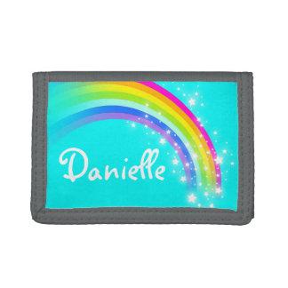 Aqua rainbow and stars name wallet / purse