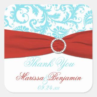 Aqua, Red, and White Damask Wedding Favor Sticker