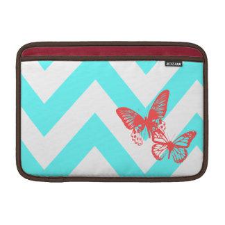 Aqua & Red Chevron Butterflies MacBook Air Sleeve